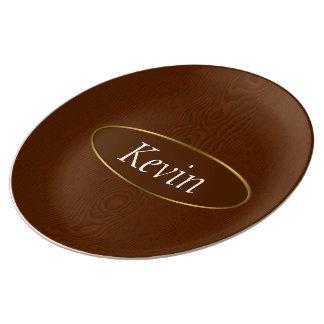Brown Wood Grain Monogram Porcelain Plates