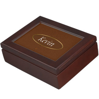 Brown Wood Grain Monogram Memory Box