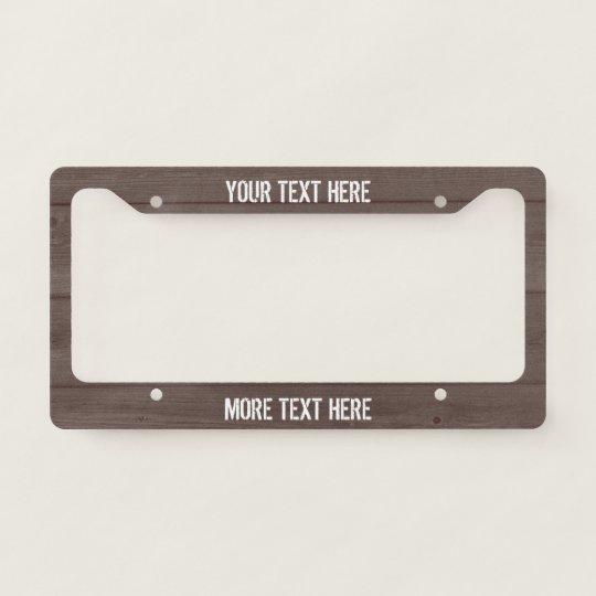 Brown Wood Grain Panel Custom License Plate Frame Zazzle Com