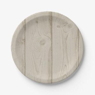 Brown Wood Grain Rustic Country Wedding Tan Paper Plate