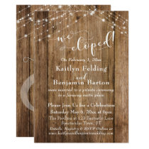 Brown Wood Lights We Eloped Typography, Reception Invitation
