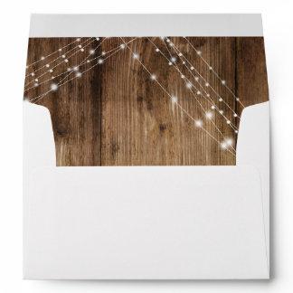 Brown Wood Lights Wedding Custom Address Envelope