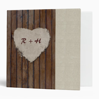 Brown Wood Linen Look Heart Binder