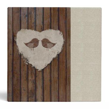 Valentines Themed Brown Wood Lovebirds Heart Binder