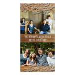 Brown Wood Rustic Country Two Photo Holiday Cards