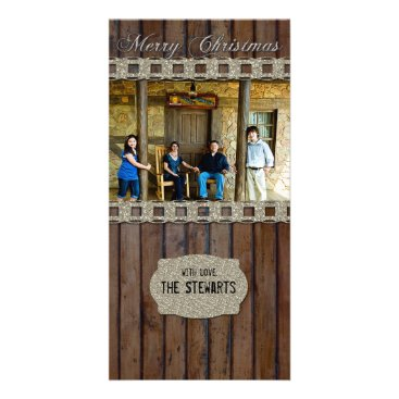 Christmas Themed Brown Wood Silver Country Photo Christmas Card