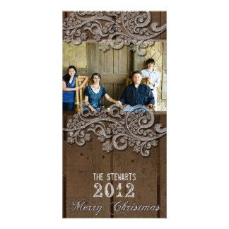 Brown Wood Silver Country Photo Christmas Card Custom Photo Card