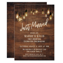 Brown Wood Wall with Edison Lights, Just Married Card