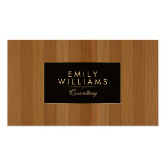 Brown Wood With Black & Gold Accents Double-Sided Standard Business Cards (Pack Of 100)