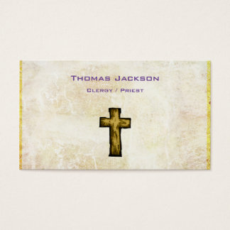 Brown Wooden Cross Christian Religious Business Card