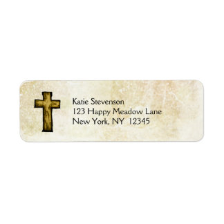 Brown Wooden Cross Hope and Inspiration Label