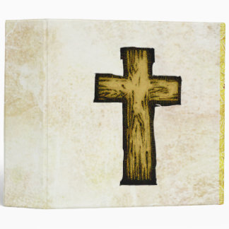 Brown Wooden Cross Symbol of Faith and Hope 3 Ring Binder