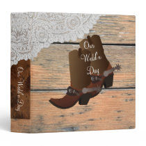 Brown Wooden Paneling Cowboy Lace Wedding 3 Ring Binder