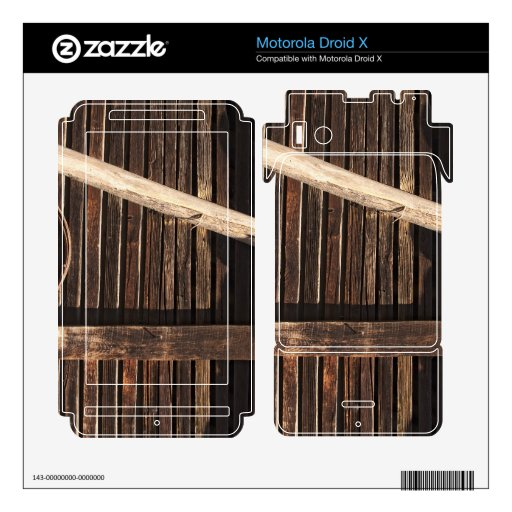 Brown Wooden Planks Barn Wall - rural photography Skin For Motorola Droid X