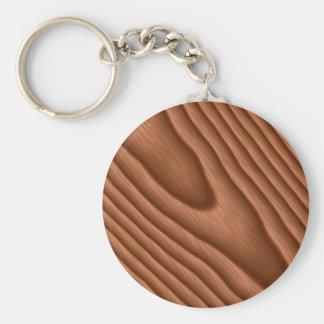 Brown Woodgrain Textured Basic Round Button Keychain