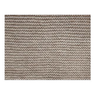 Brown wool knit texture postcard
