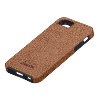 Brown Worn-Out Natural Leather Look iPhone SE/5/5s Case