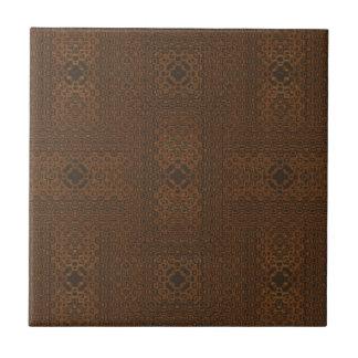 Brown Woven Look Pattern Ceramic Tile