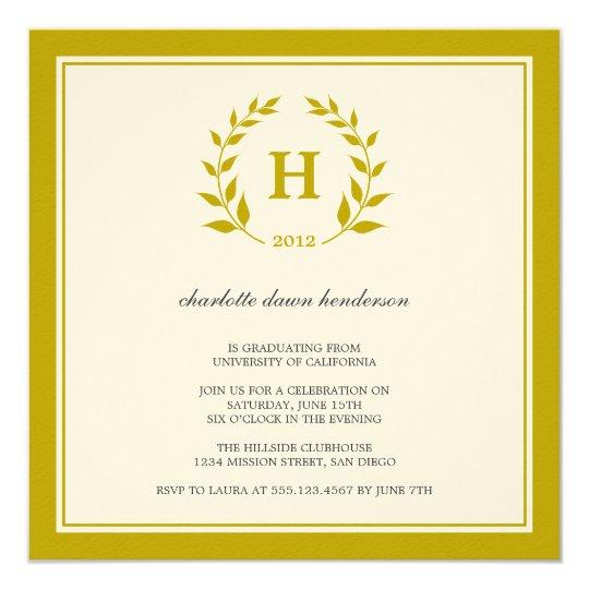 Brown wreath monogram graduation class invitation