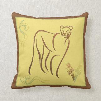 Brown y almohada de tiro amarilla del bosquejo del