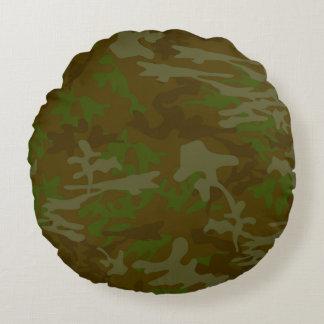 Brown y almohada redonda verde del acento de Camo Cojín Redondo