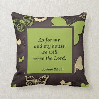 Brown y almohada verde del verso de la escritura