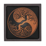 Brown y árbol de la vida negro Yin Yang Caja De Joyas De Calidad