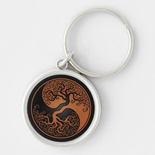 Brown y árbol de la vida negro Yin Yang Llavero Redondo Plateado