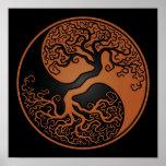 Brown y árbol de la vida negro Yin Yang Impresiones