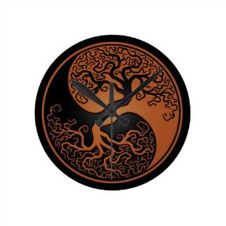 Brown y árbol de la vida negro Yin Yang Relojes