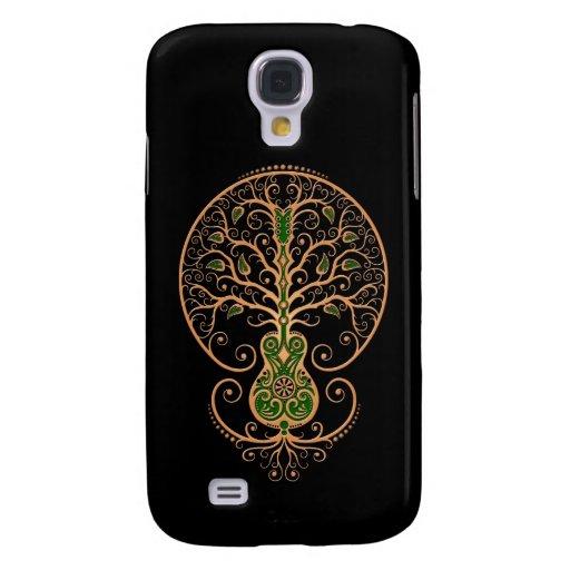 Brown y árbol verde de la guitarra de la vida en n funda para galaxy s4