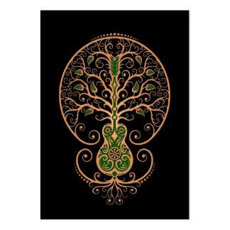 Brown y árbol verde de la guitarra de la vida en n tarjetas de visita