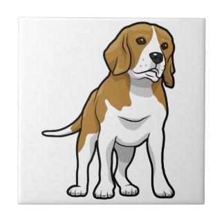 Brown y beagle blanco azulejo cuadrado pequeño