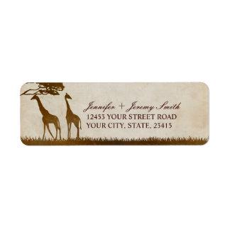 Brown y boda africano de marfil de la jirafa etiqueta de remitente