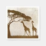 Brown y boda africano de marfil de la jirafa servilletas de papel