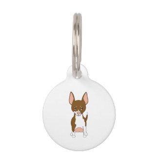 Brown y chihuahua blanca placas para mascotas