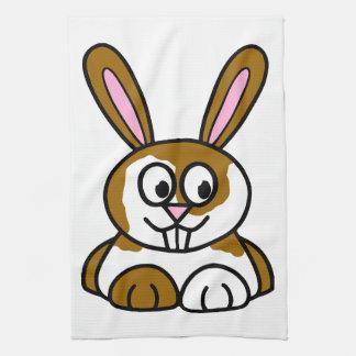 Brown y conejito blanco toalla de cocina