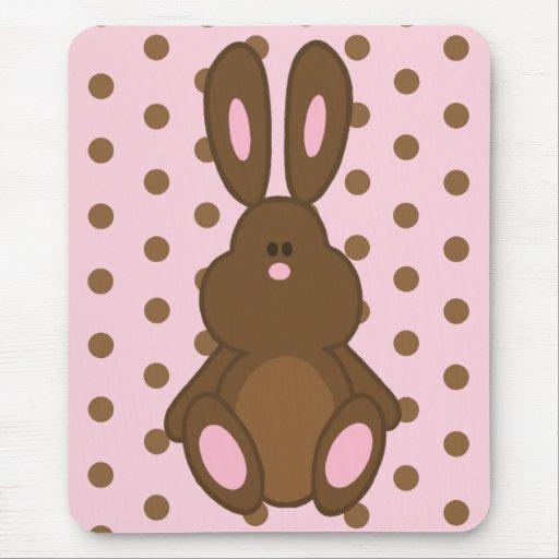Brown y conejito rosado en los lunares Mousepad Tapete De Raton