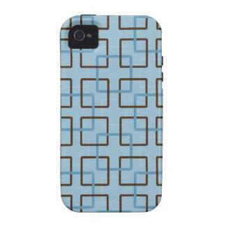 Brown y cuadrados geométricos azules iPhone 4/4S fundas
