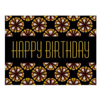 Brown y cumpleaños del amarillo feliz tarjeta postal