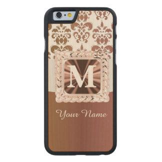 Brown y damasco blanco personalizados funda de iPhone 6 carved® de arce