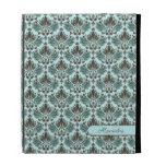 Brown y damasco floral del vintage elegante azul