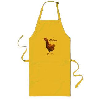 Brown y delantal rojo del pollo de la gallina
