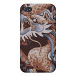 Brown y dragón oriental azul iPhone 4 cobertura
