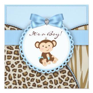 Brown y ducha azul del bebé del mono invitación 13,3 cm x 13,3cm
