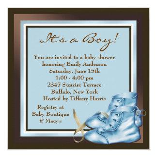 """Brown y ducha azul del bebé invitación 5.25"""" x 5.25"""""""