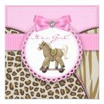 Brown y ducha rosada de la niña del caballo invitaciones personales