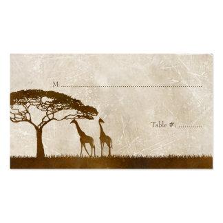 Brown y el boda africano de marfil de la jirafa co tarjeta de visita
