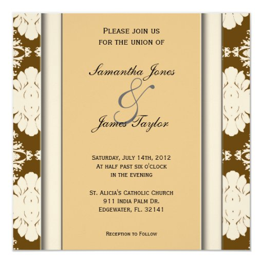 Brown y el boda elegante del vintage del verde invitación 13,3 cm x 13,3cm