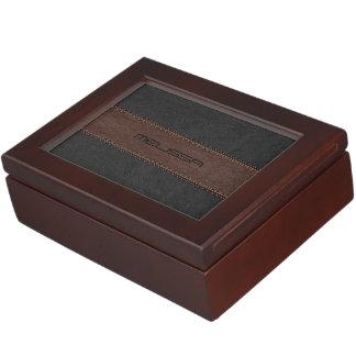 Brown y el negro cosieron la textura de cuero cajas de recuerdos
